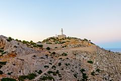 Lighthouse at Cape Formentor in the Coast of North Mallorca, Spain Balearic Islands . Beautiful white Lighthouse at Cape Formentor in the Coast of North royalty free stock images