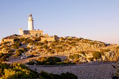 Lighthouse at Cape Formentor in the Coast of North Mallorca, Spain Balearic Islands . Beautiful white Lighthouse at Cape Formentor in the Coast of North royalty free stock image