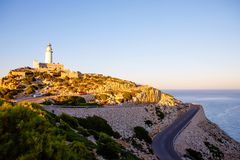 Lighthouse at Cape Formentor in the Coast of North Mallorca, Spain Balearic Islands . Beautiful white Lighthouse at Cape Formentor in the Coast of North Royalty Free Stock Photo