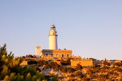 Lighthouse at Cape Formentor in the Coast of North Mallorca, Spain Balearic Islands . Beautiful white Lighthouse at Cape Formentor in the Coast of North stock images
