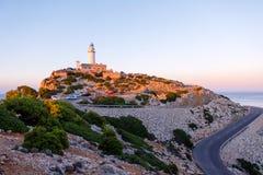 Beautiful white Lighthouse at Cape Formentor in the Coast of North Mallorca, Spain Balearic Islands Artistic sunrise and. Dusk landascape stock image