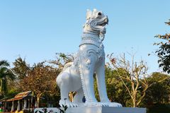A Beautiful White Lion Statue stock images