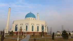 Beautiful white Minor mosque in Tashkent stock video