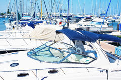 Beautiful white modern yachts at marina sea port. Royalty Free Stock Images