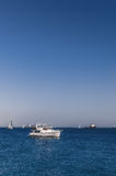 Beautiful white motor boat in the blue calm  Sea Stock Photos