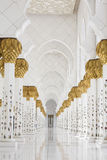 Beautiful white muslim church interior, passageway Stock Photo