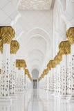 Beautiful white muslim church interior, passageway stock photo