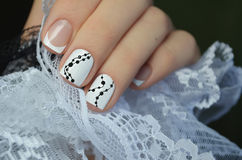 Beautiful white nail art design Royalty Free Stock Photos
