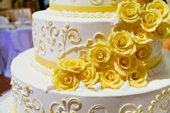 Wedding cake with roses stock photography