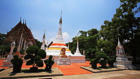 Beautiful white pagodas against shrine and blue sky Royalty Free Stock Image