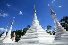 Beautiful White Pagodas of Mon Architecture with n Stock Image