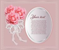 Beautiful white paper border with rose royalty free stock photo