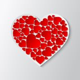 Beautiful  white paper cut out heart. Beautiful white paper cut out heart with many small red hearts. Vector illustration Royalty Free Stock Photo