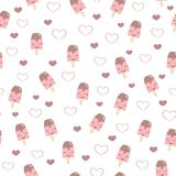 beautiful white pattern with sweet dessert ice cream ice cream and hearts Royalty Free Stock Image