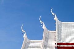 Beautiful white pavilion buddhist Thai temple roof. Thai white r stock photo
