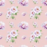 Beautiful white peony seamless pattern. Bouquet of flowers. Floral print. Marker drawing. stock illustration