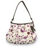 Beautiful white and pink handbag with birds Stock Photos