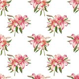 Beautiful white and pink lily seamless pattern. Bouquet of flowers. Floral print. Marker drawing. stock illustration