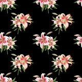Beautiful white and pink lily seamless pattern. Bouquet of flowers. Floral print. Marker drawing. royalty free illustration