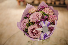 Beautiful white, pink, purple flower romantic bouquet Stock Photo