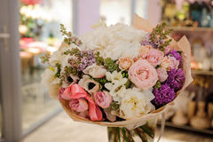 Beautiful white, pink, purple flower romantic bouquet. With bow Royalty Free Stock Photo