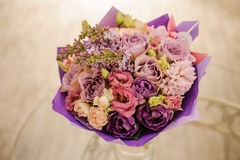 Beautiful white, pink, purple flower romantic bouquet. With bow Royalty Free Stock Images