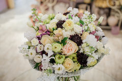Beautiful white, pink, purple flower romantic bouquet. With bow Stock Photography