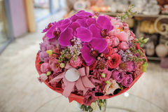 Beautiful white, pink, purple flower romantic bouquet. With bow Royalty Free Stock Photos
