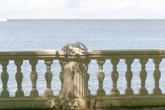 Beautiful white railing against the sea and sky background Royalty Free Stock Photos