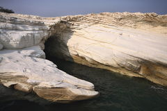 Beautiful white rock formations on the Cypriot coast Stock Images