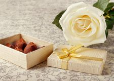 Beautiful white rose with golden gift box and chocolate truffles for Valentine`s Day. Or wedding stock photos
