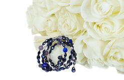 Beautiful White Roses  with  bracelet Stock Photo