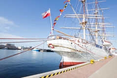 Beautiful white sailing ship in the port of Gdynia Stock Images