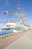 Beautiful white sailing ship in the port of Gdynia Stock Photography