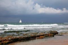 Beautiful white sails on the horizon Royalty Free Stock Image