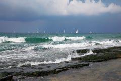 Beautiful white sails of yachts Stock Photography
