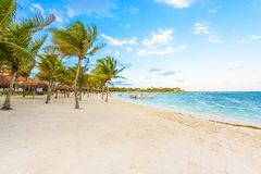 Beautiful white sand beach in Akumal, Mexico - paradise bay Beach in Quintana Roo - caribbean coast - sunset at Riviera Maya stock photo
