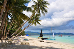 Beautiful white sand beach in Boracay Stock Photography