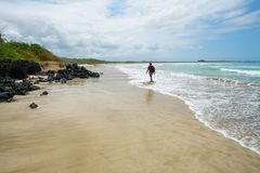 Beautiful white sand beach in the Galapagos Islands, Ecuador Royalty Free Stock Photo