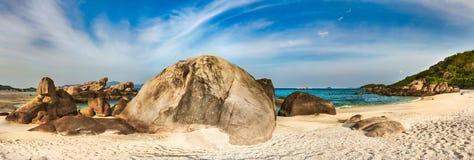 White sand beach. Vietnam. Panorama. Beautiful white sand beach. Stones on a foreground. Landscape of Vietnam. Panorama stock photo