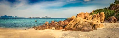 White sand beach. Vietnam. Panorama. Beautiful white sand beach. Stones on a foreground. Landscape of Vietnam. Panorama royalty free stock photo