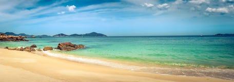 White sand beach. Vietnam. Panorama. Beautiful white sand beach. Stones on a foreground. Landscape of Vietnam. Panorama stock photos