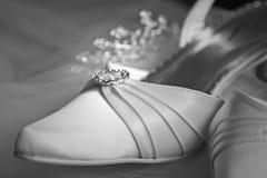 Beautiful white satin shoe Stock Image