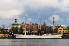 Beautiful White Ship Standing in Ship Port in Stockholm, Sweden Royalty Free Stock Photo
