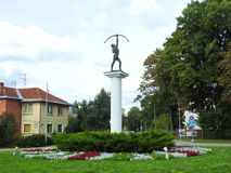 Sculpture Shooter in Druskininkai town, Lithuania royalty free stock image
