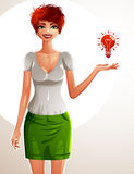 Beautiful white-skin woman, full-length portrait. Colorful drawing of a cute slim girl showing at light bulb to side with her hand Stock Photos