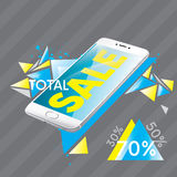 Beautiful white smartphone. Ready-made flyer design and sales flyers. Total discounts of 30%, 50%, 70%. Vector illustration for a vector illustration