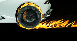Beautiful white sport car in fire black on background.  Stock Images