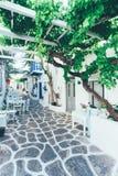 Beautiful white streets on Paros Stock Photography