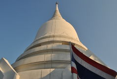 Beautiful White Stupa In Temple Bangkok Thailand Wat PhraSri Stock Photo